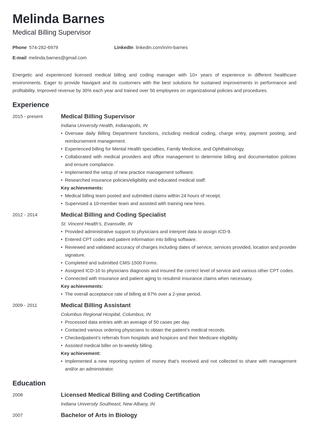 medical billing resume example template minimo