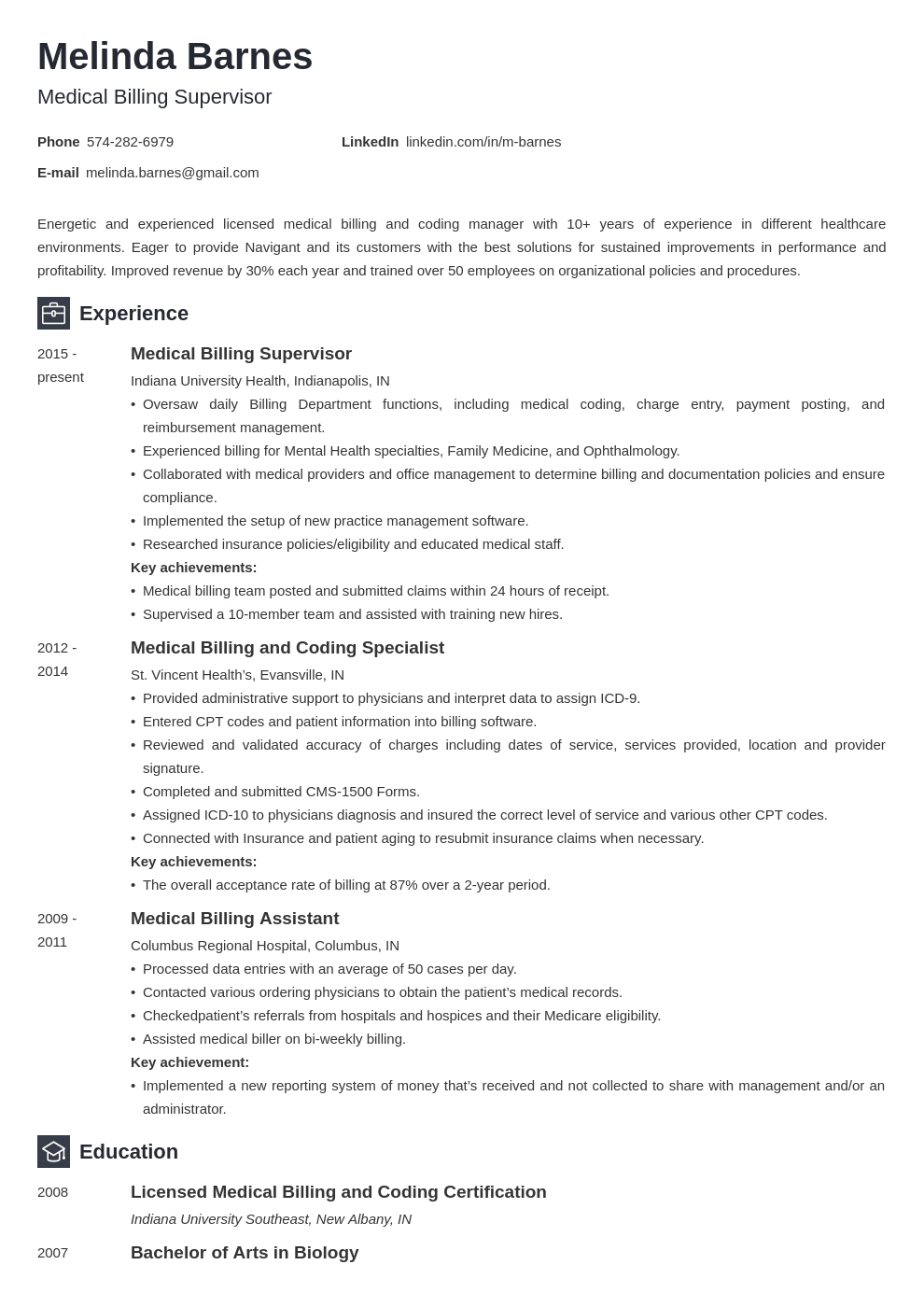 medical billing resume example template newcast
