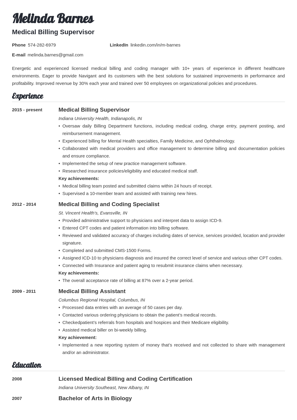 medical billing resume example template valera