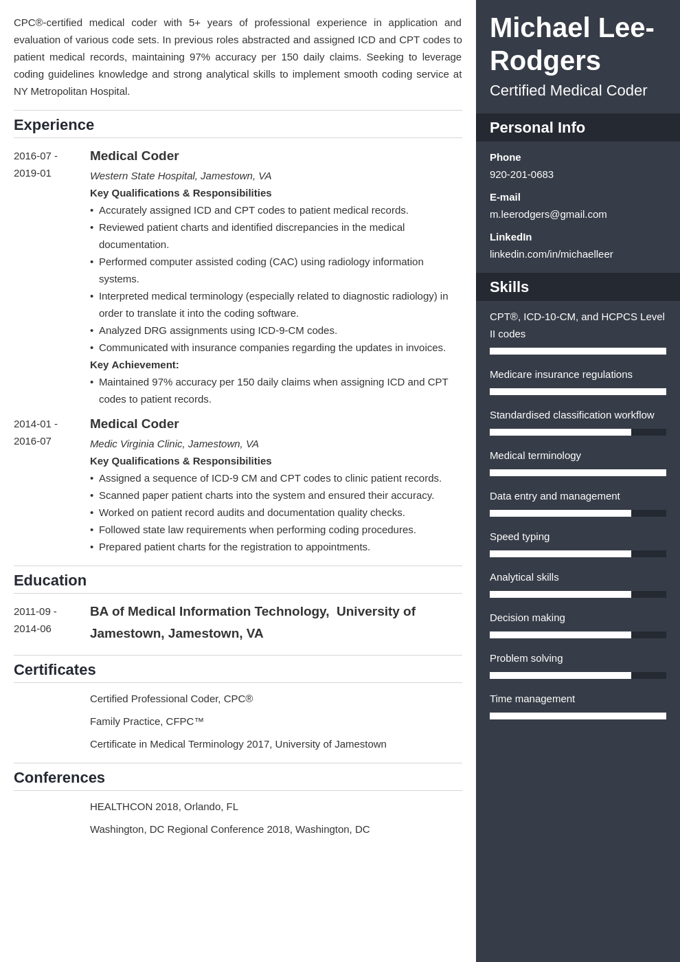 medical coder resume example template enfold