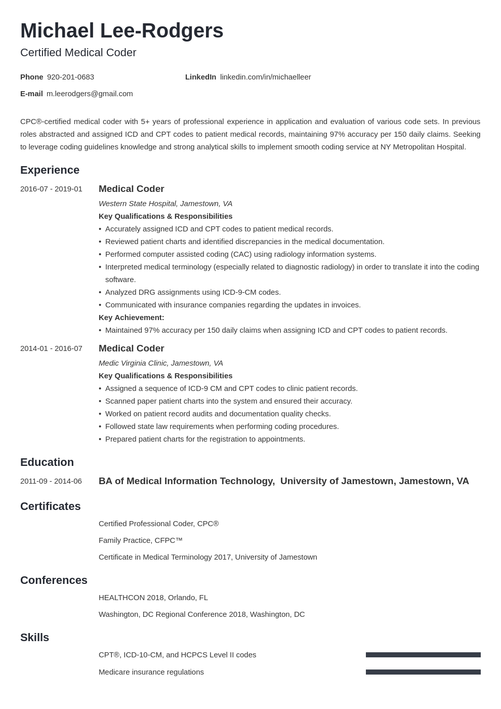 medical coder resume example template minimo