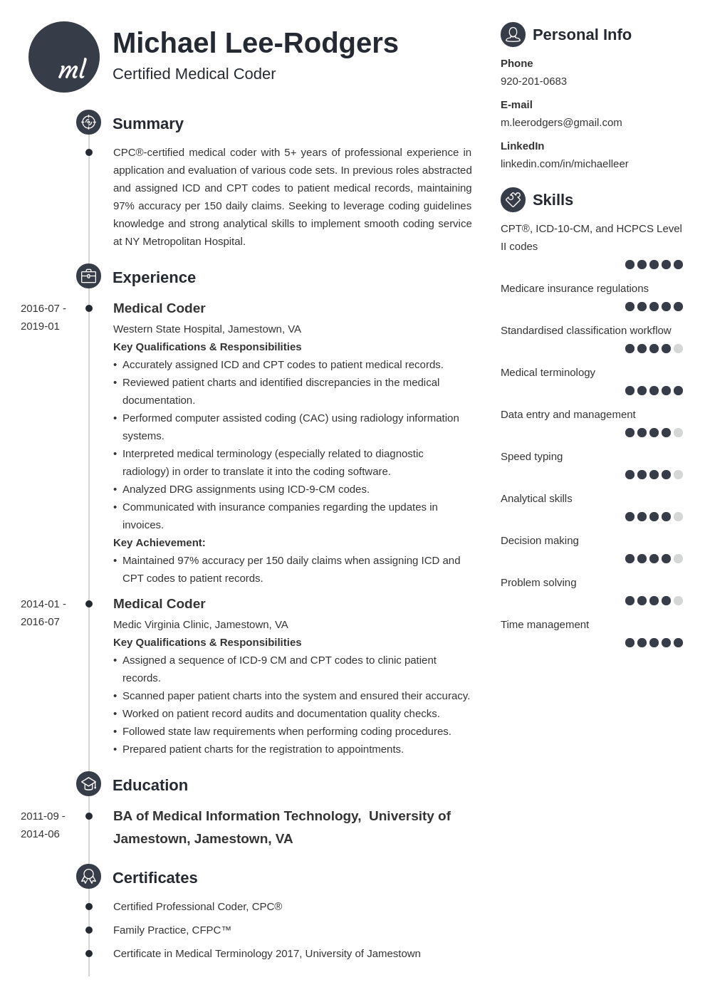 medical coder resume example template primo