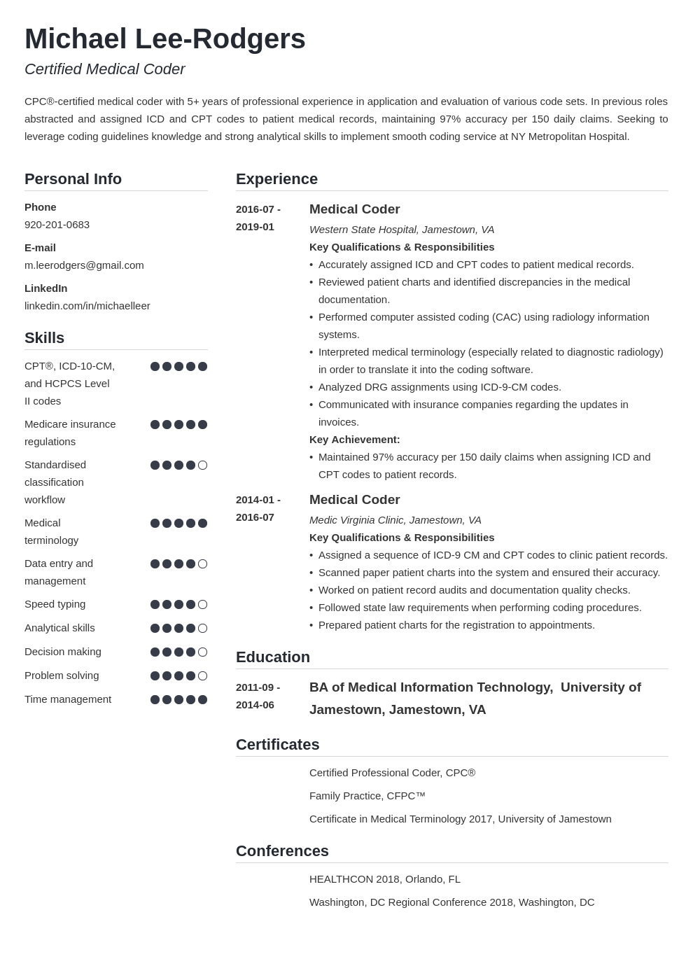 medical coder resume example template simple