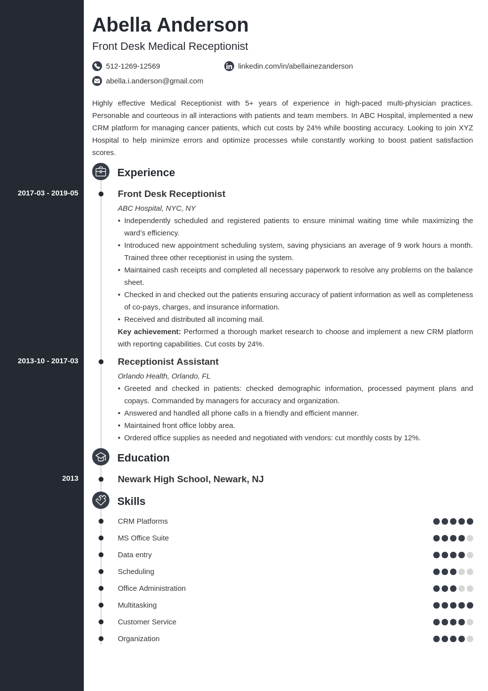 medical receptionist resume example template concept
