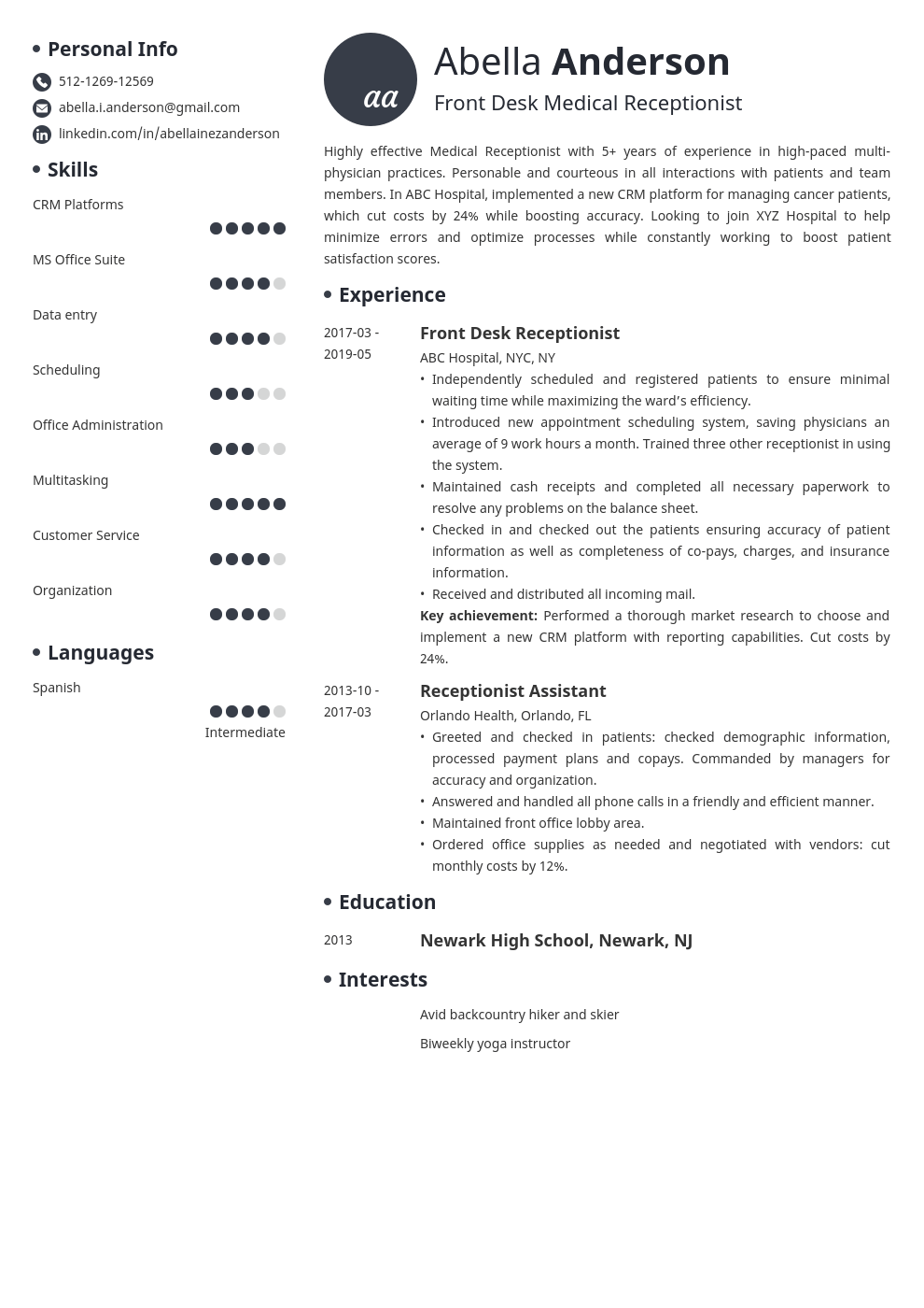 medical receptionist resume example template initials