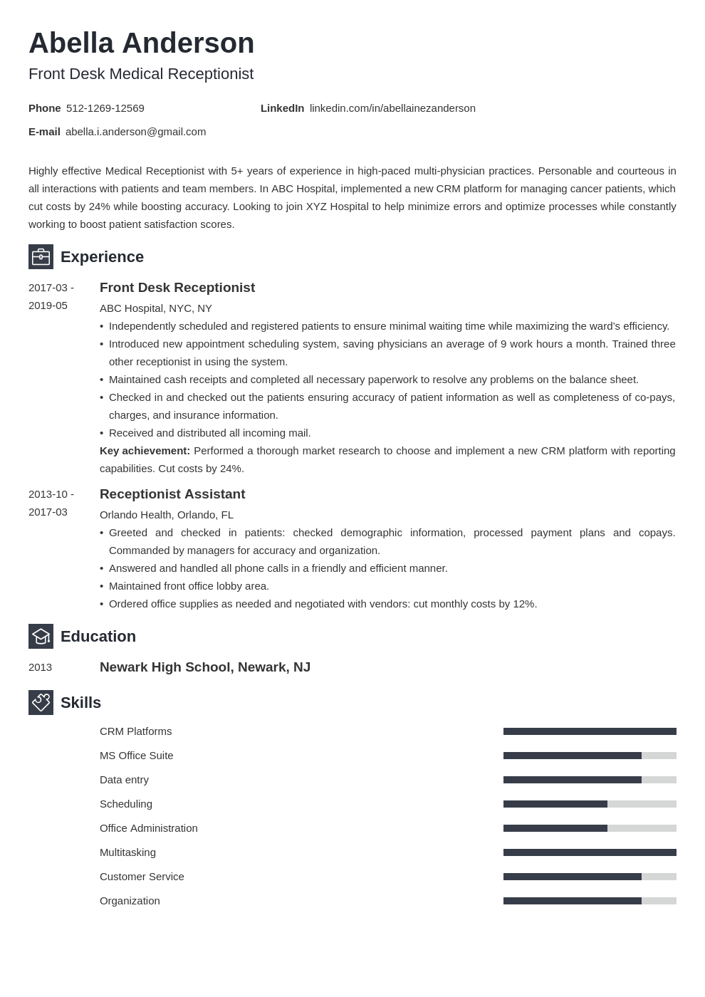 medical receptionist resume example template newcast