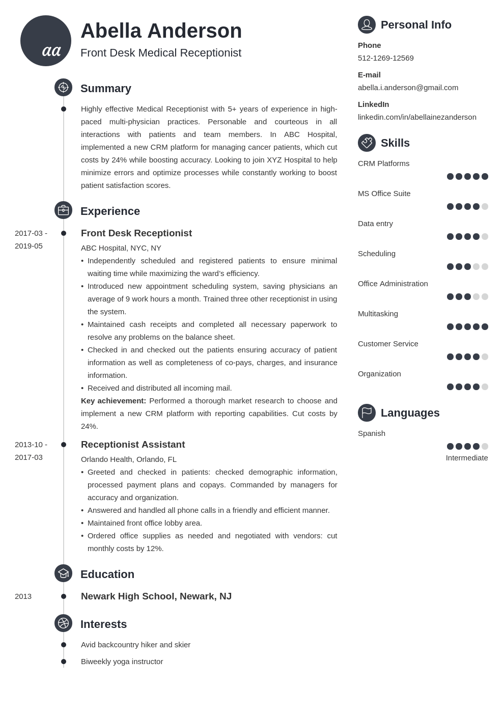 medical receptionist resume example template primo