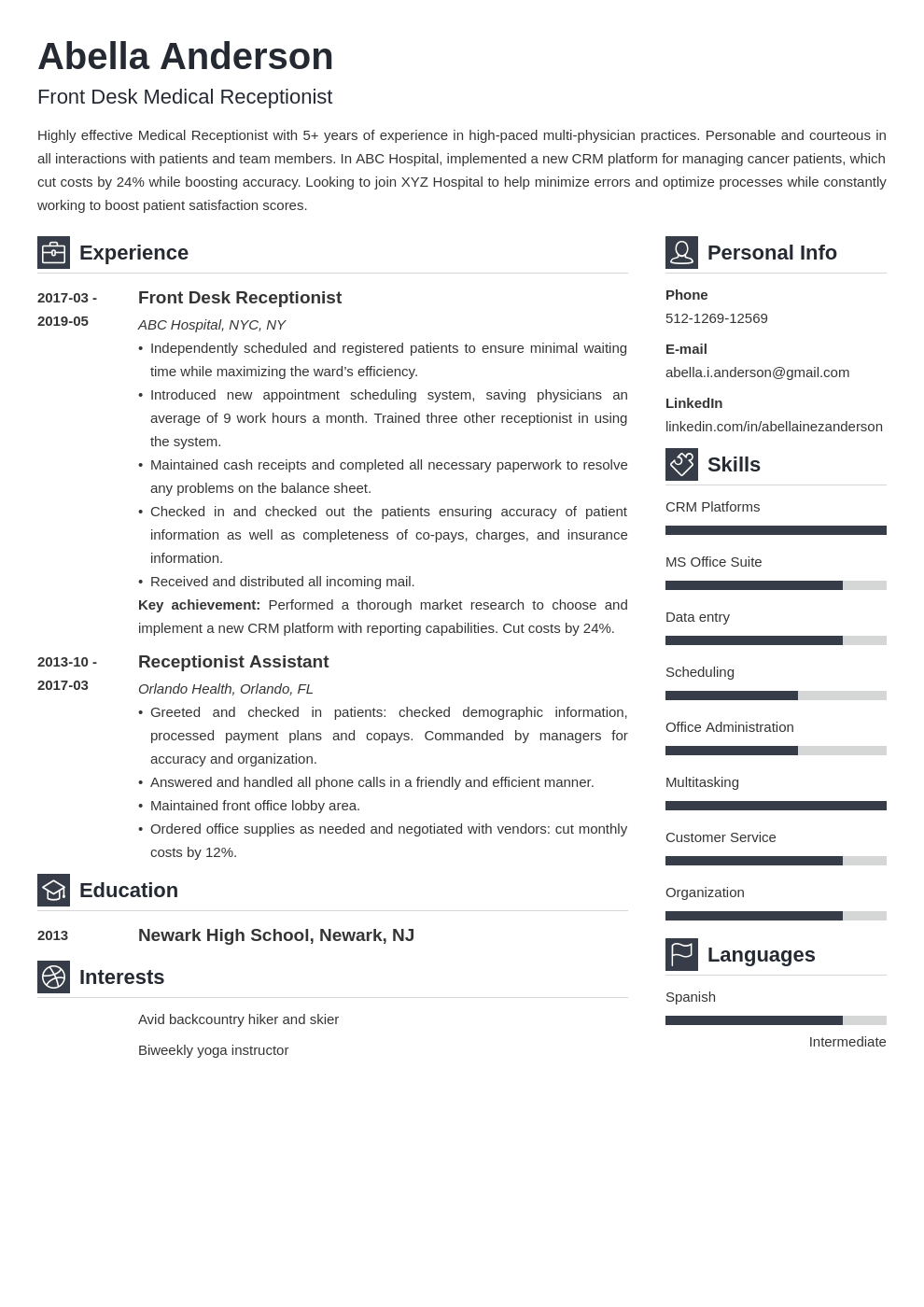 medical receptionist resume example template vibes