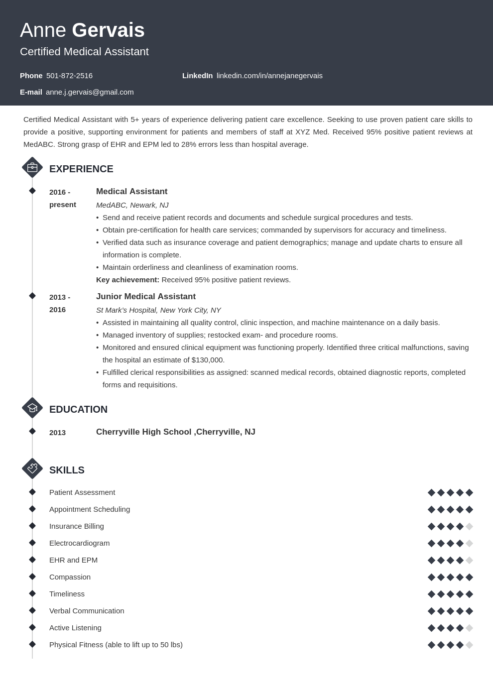 medical resume example template diamond