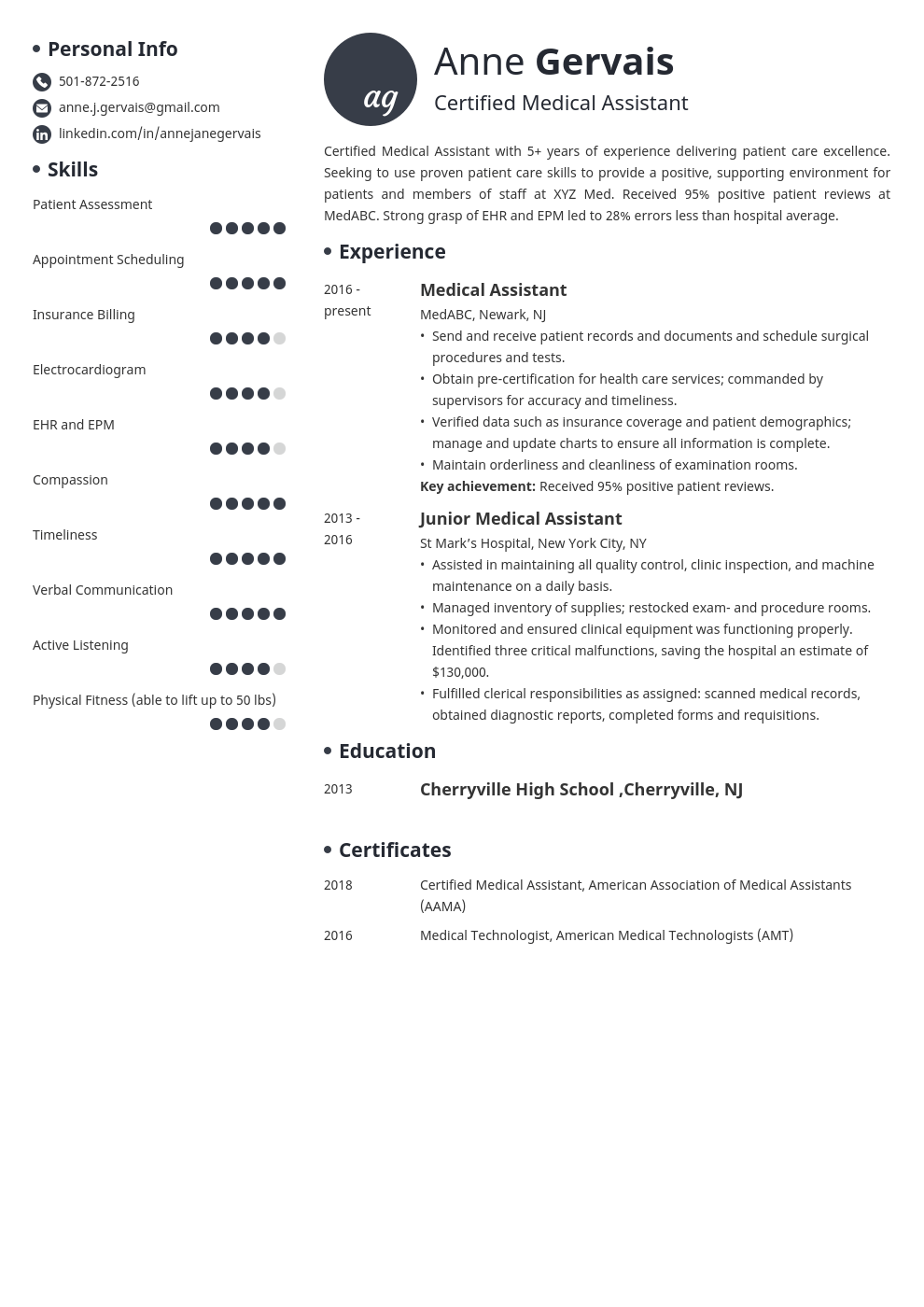 medical resume example template initials