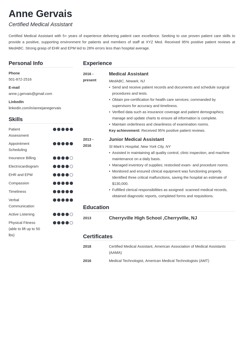 medical resume example template simple