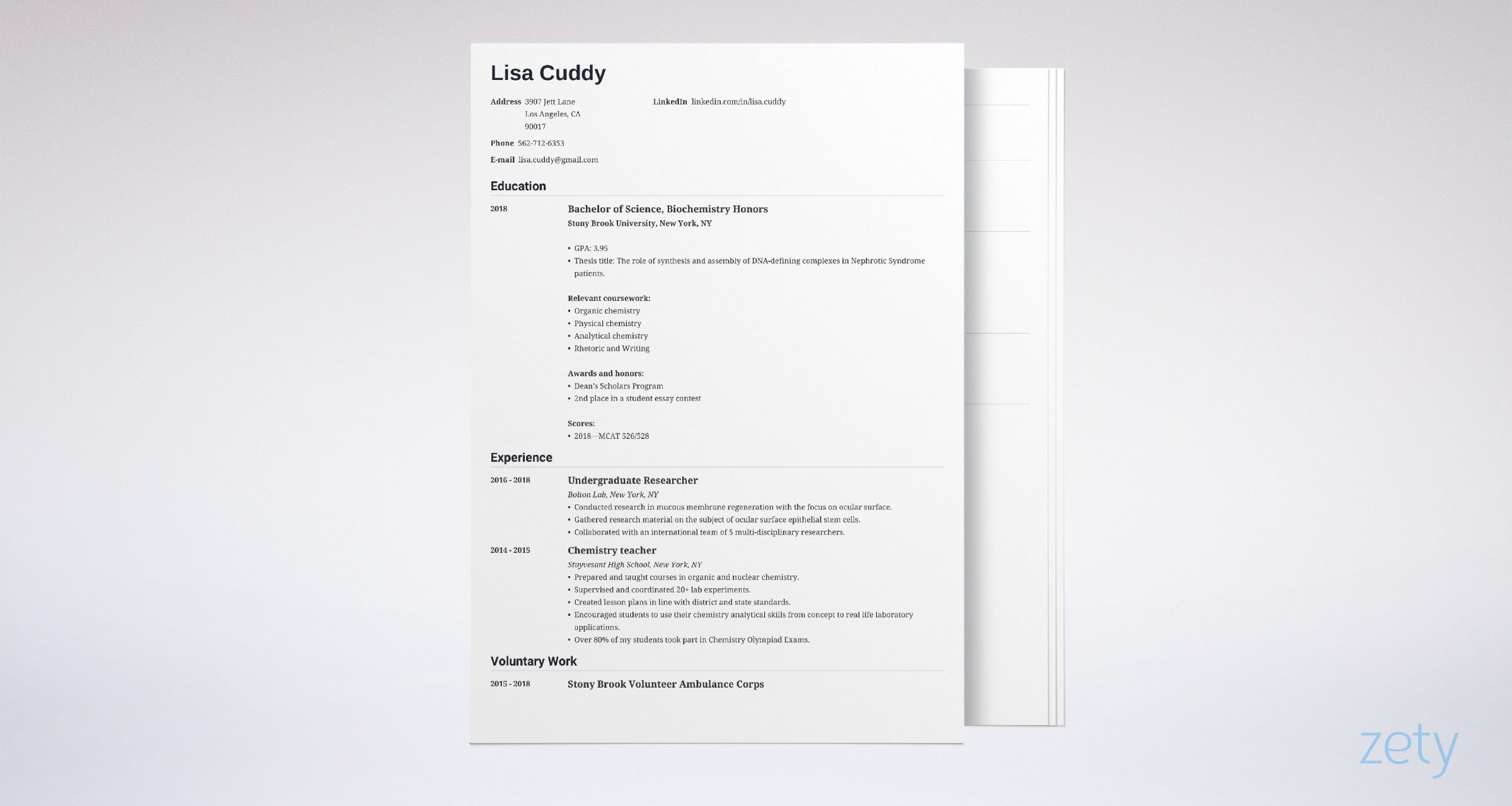 medical school resume templates