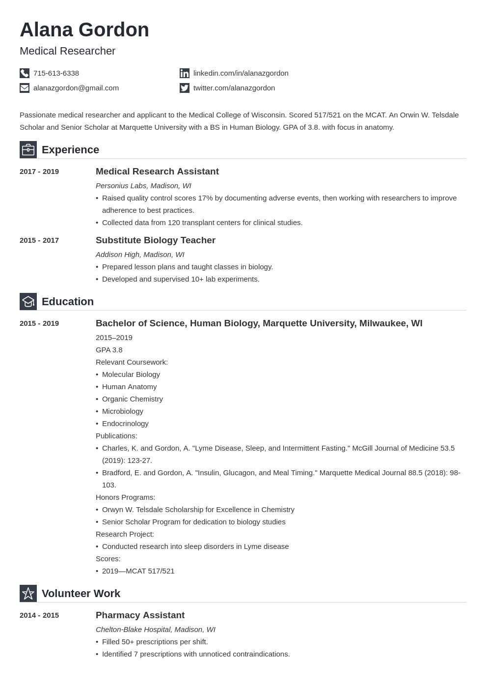 medical school resume example template iconic