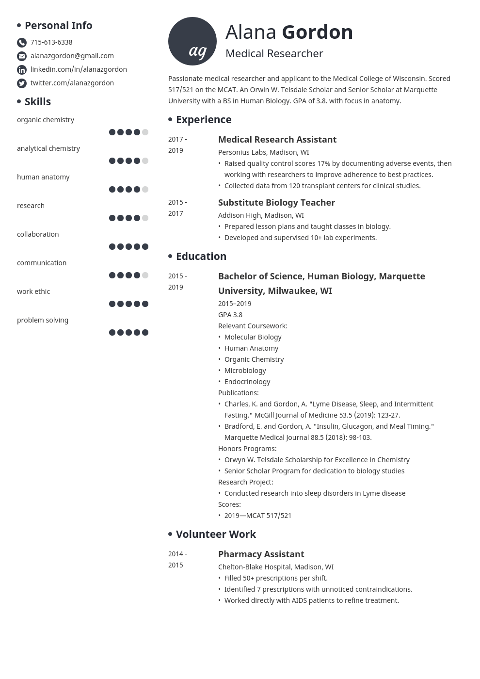 medical school resume example template initials