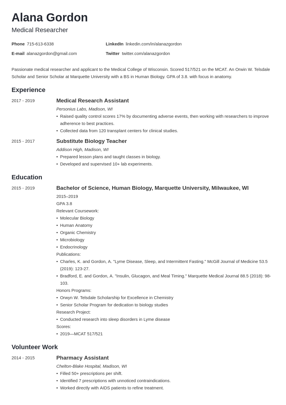 medical school resume example template minimo