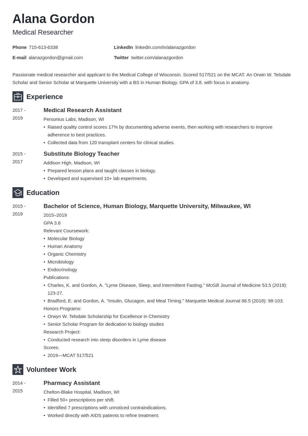 medical school resume example template newcast