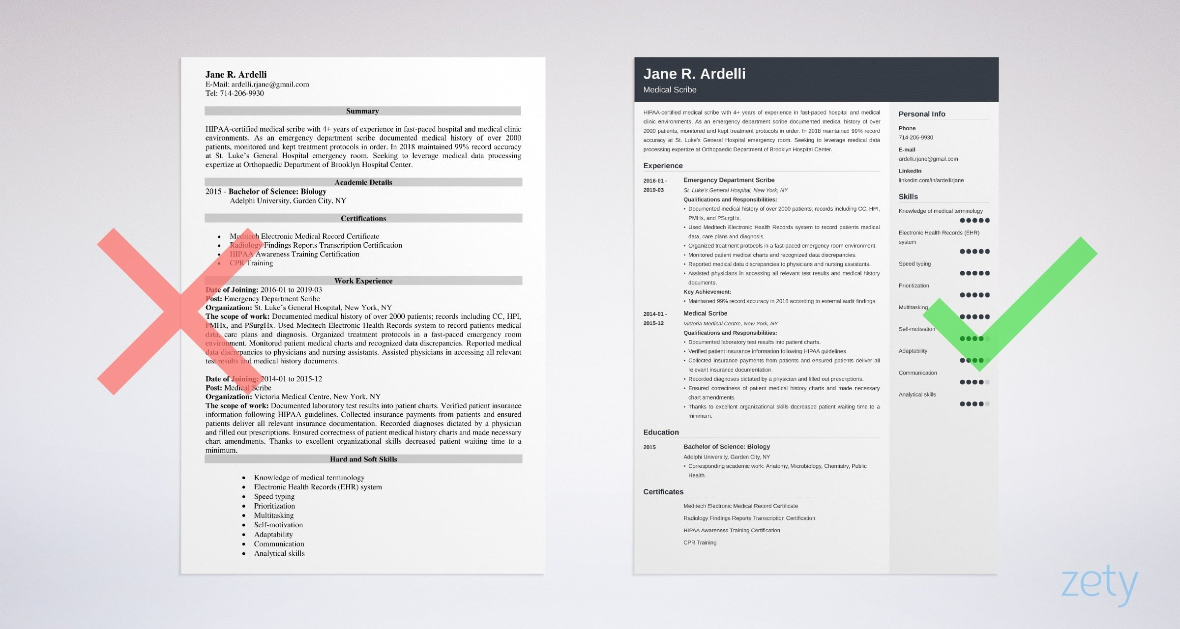 medical scribe  resume templates