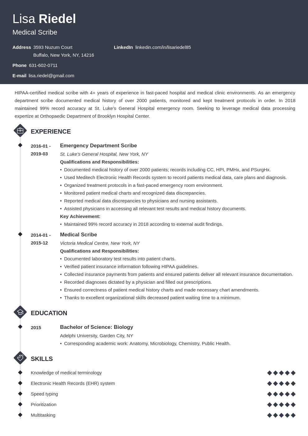 medical scribe resume example template diamond