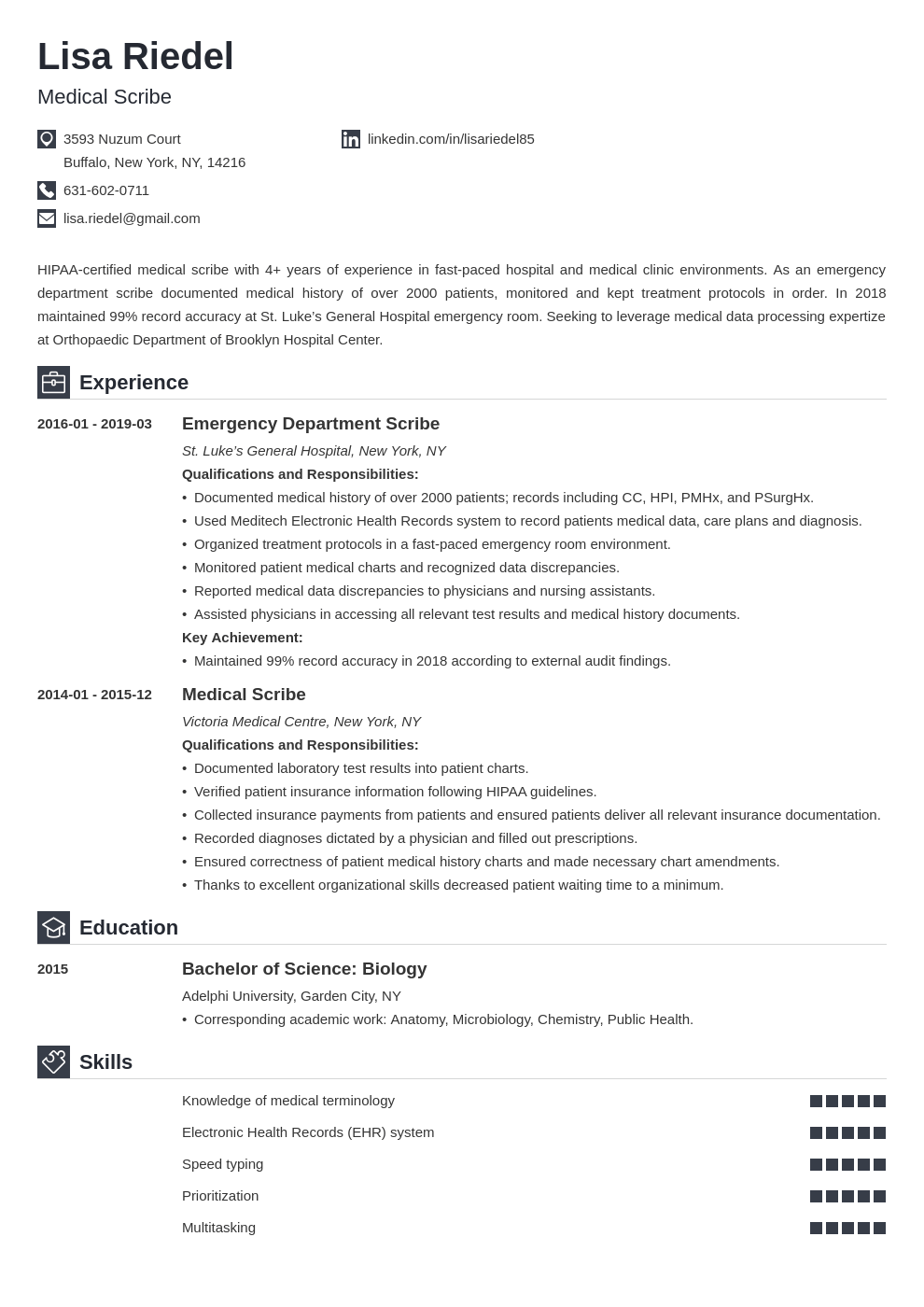 medical scribe resume example template iconic