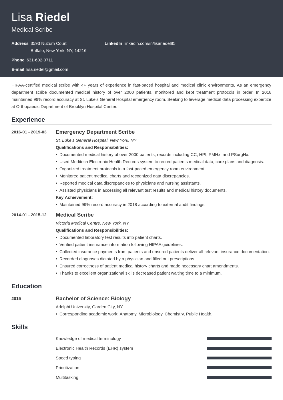 medical scribe resume example template influx