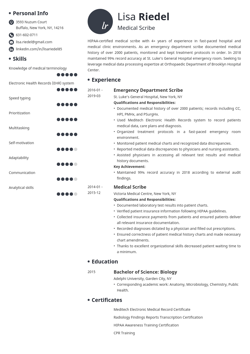 medical scribe resume example template initials
