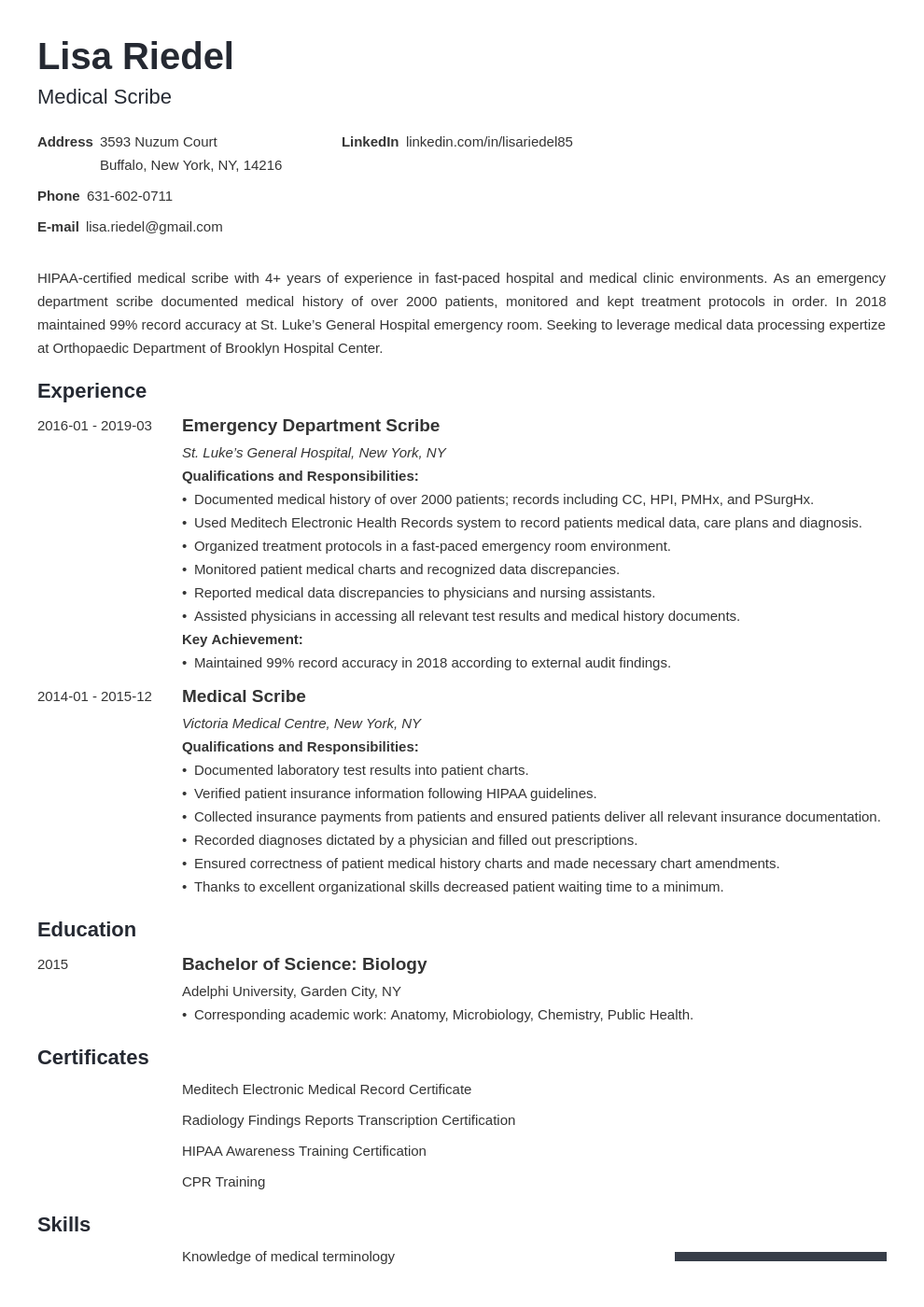 medical scribe resume example template minimo