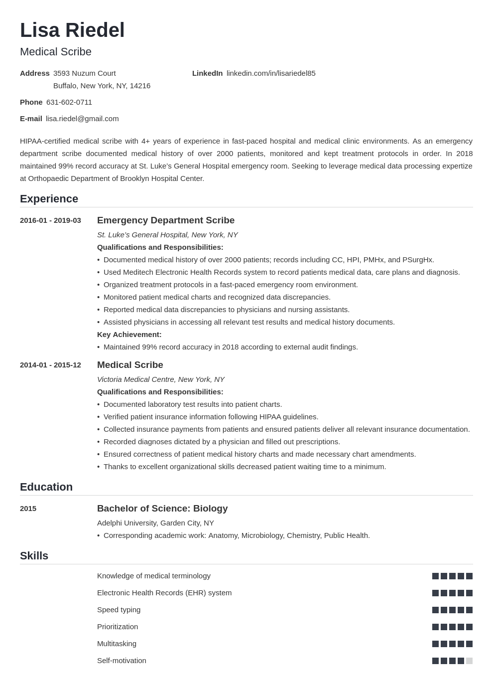 medical scribe resume example template nanica