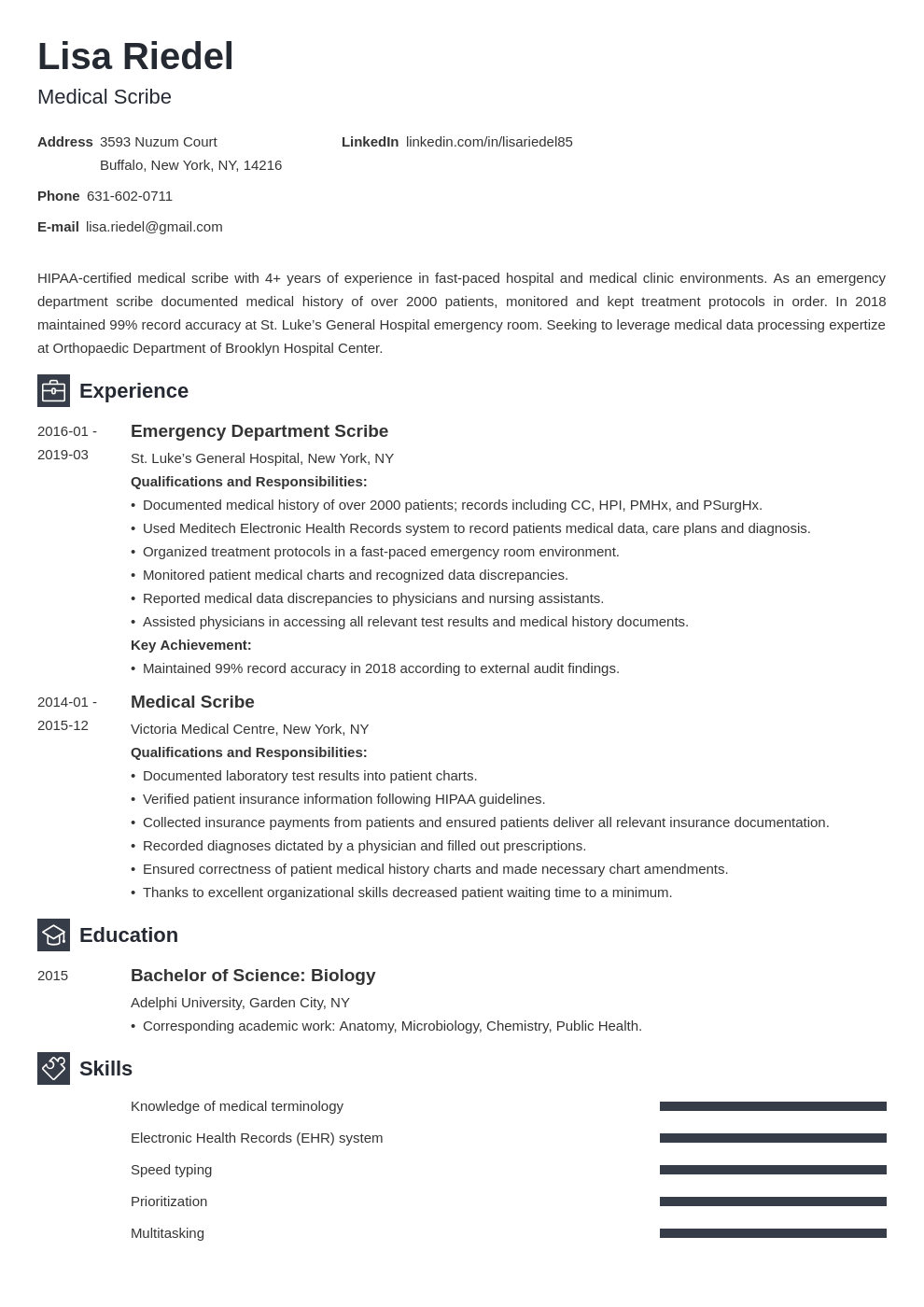 medical scribe resume example template newcast