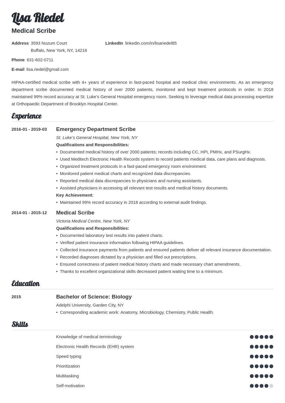 medical scribe resume example template valera