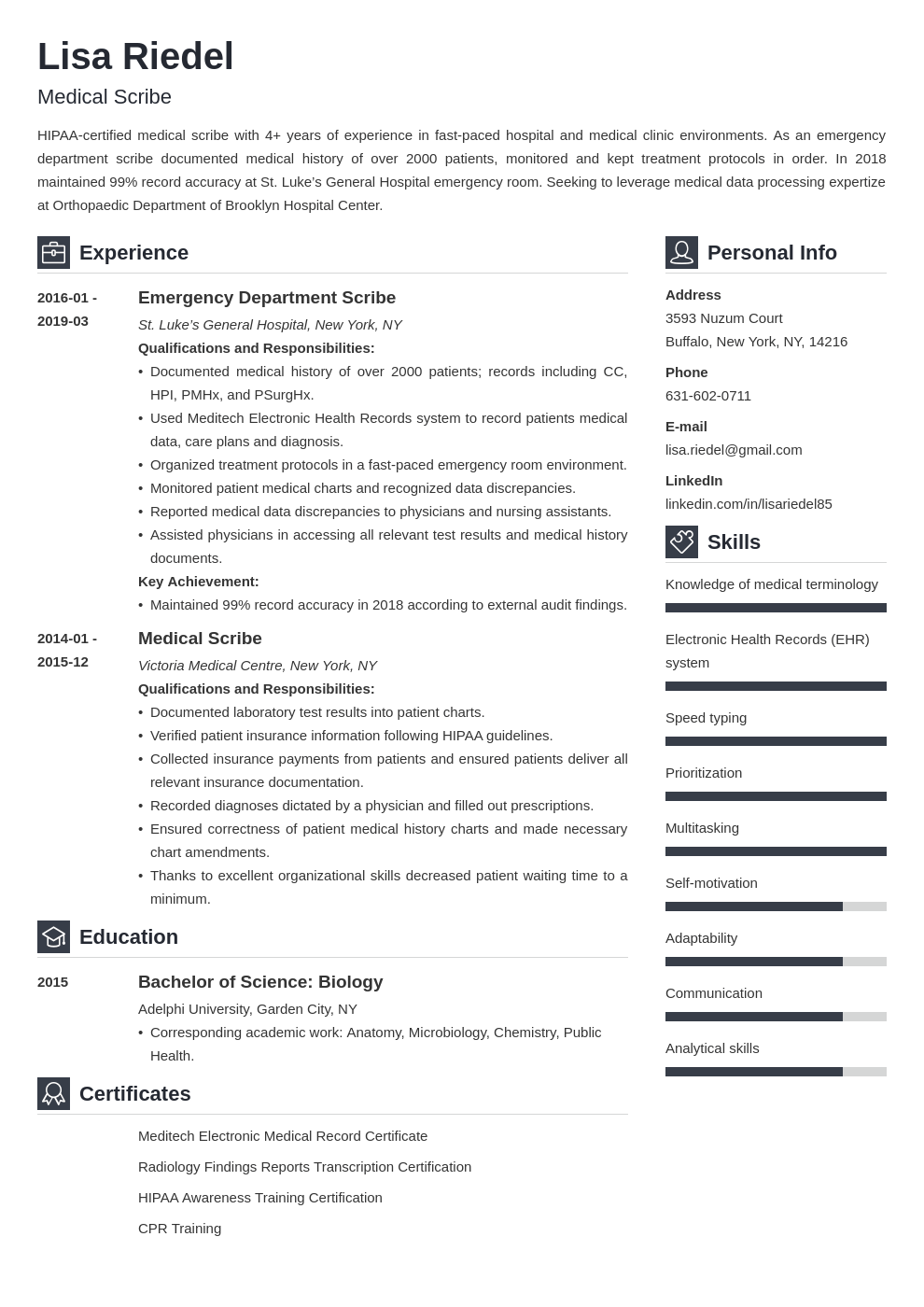medical scribe resume example template vibes