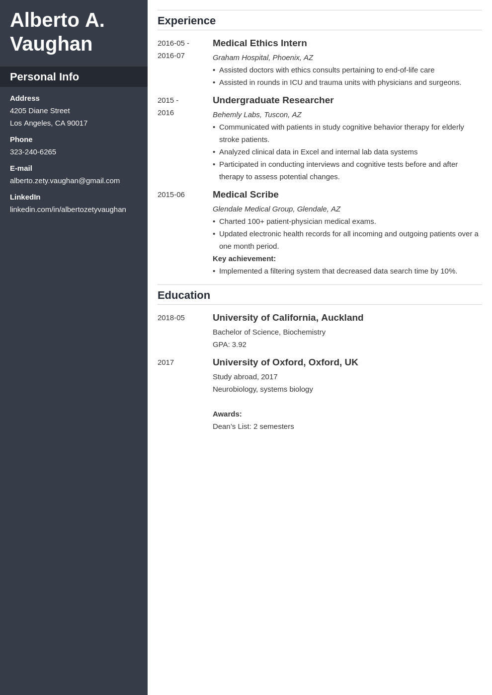 medical student cv template cascade