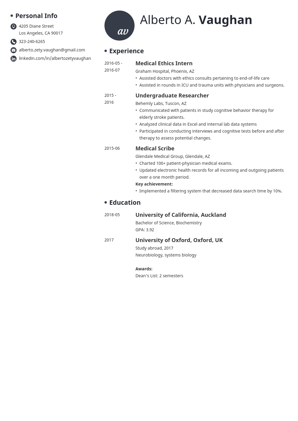 medical student cv template initials