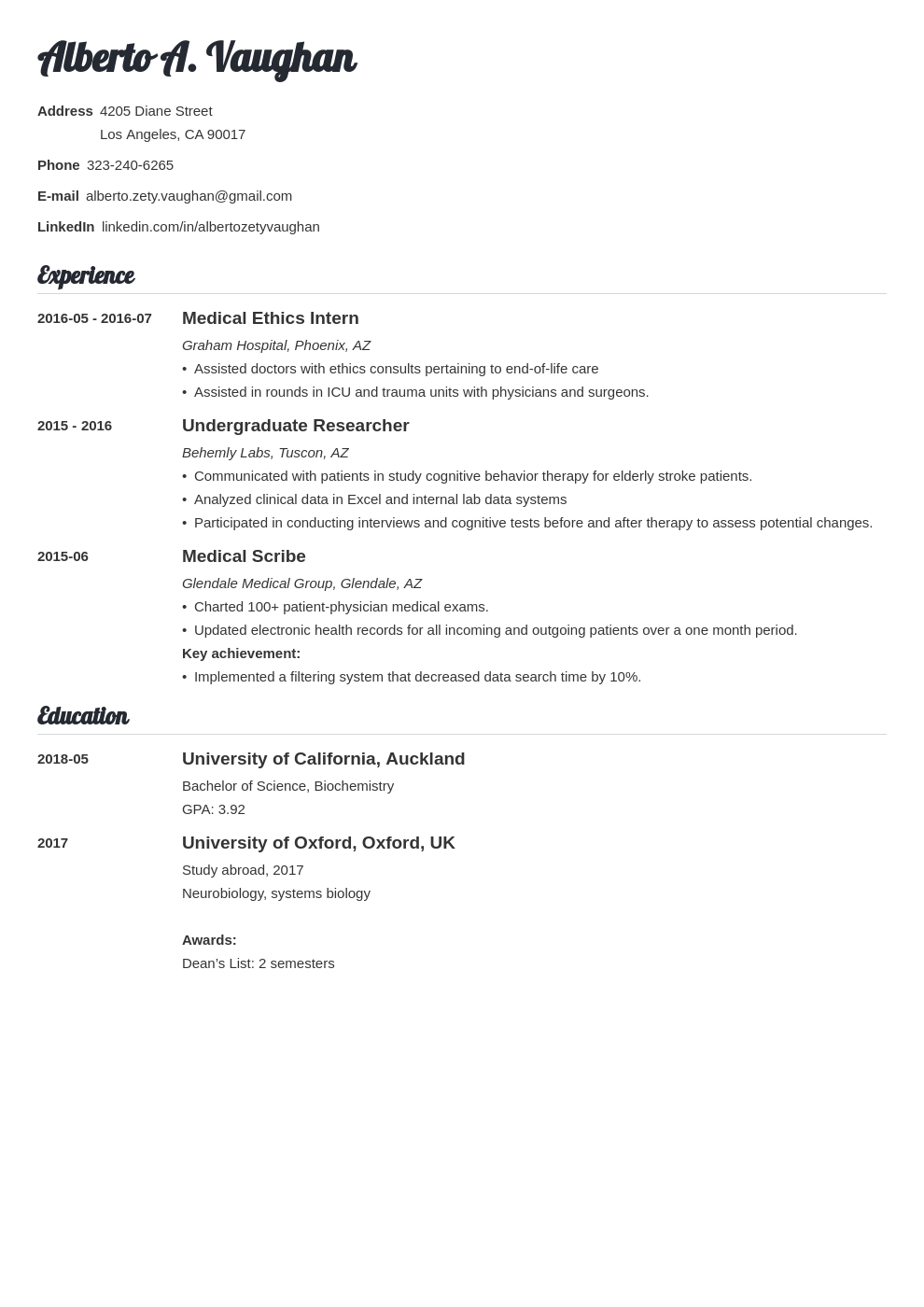 medical student cv template valera