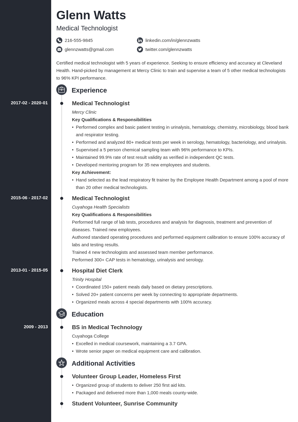 medical technologist resume example template concept