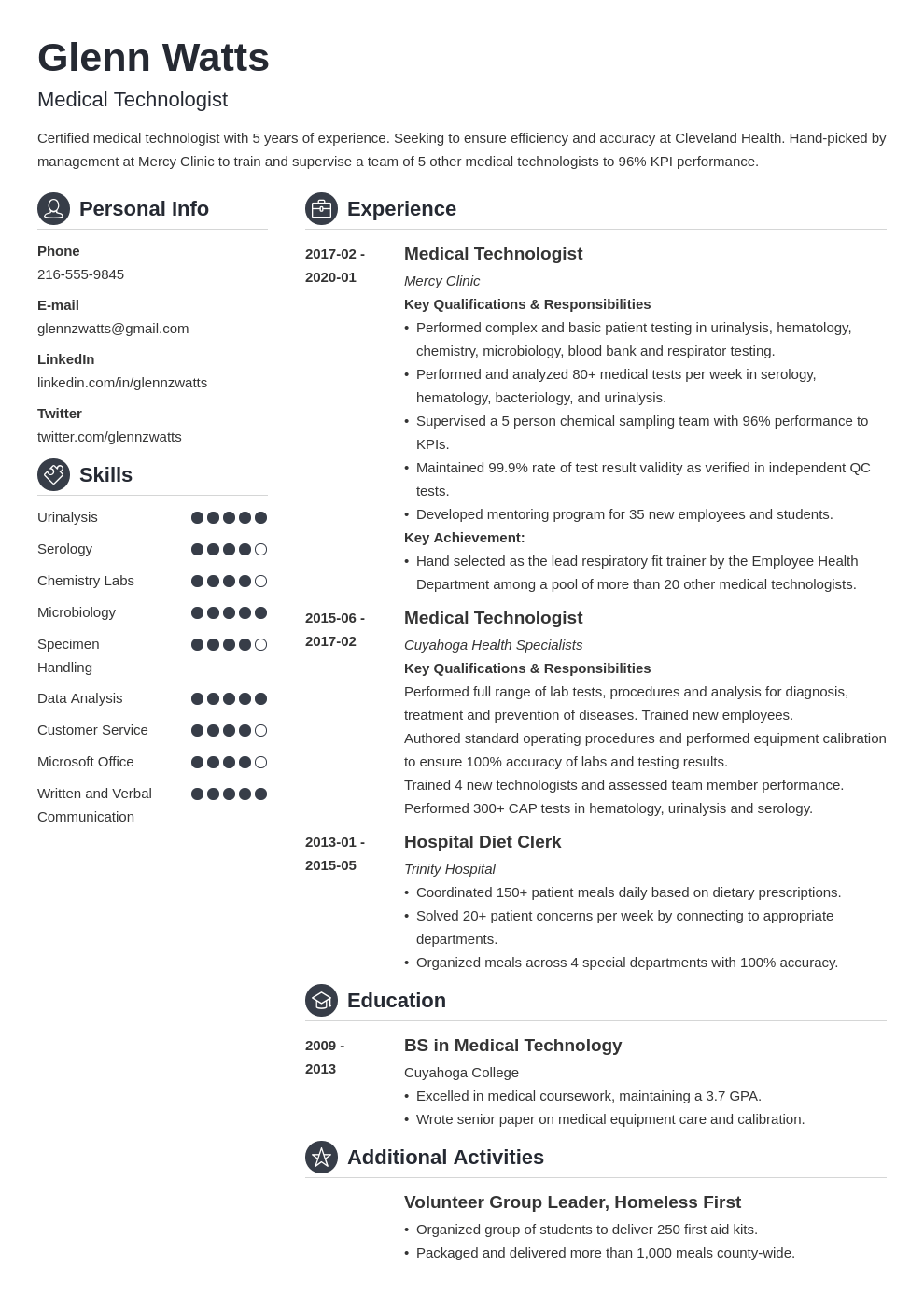 medical technologist resume example template crisp