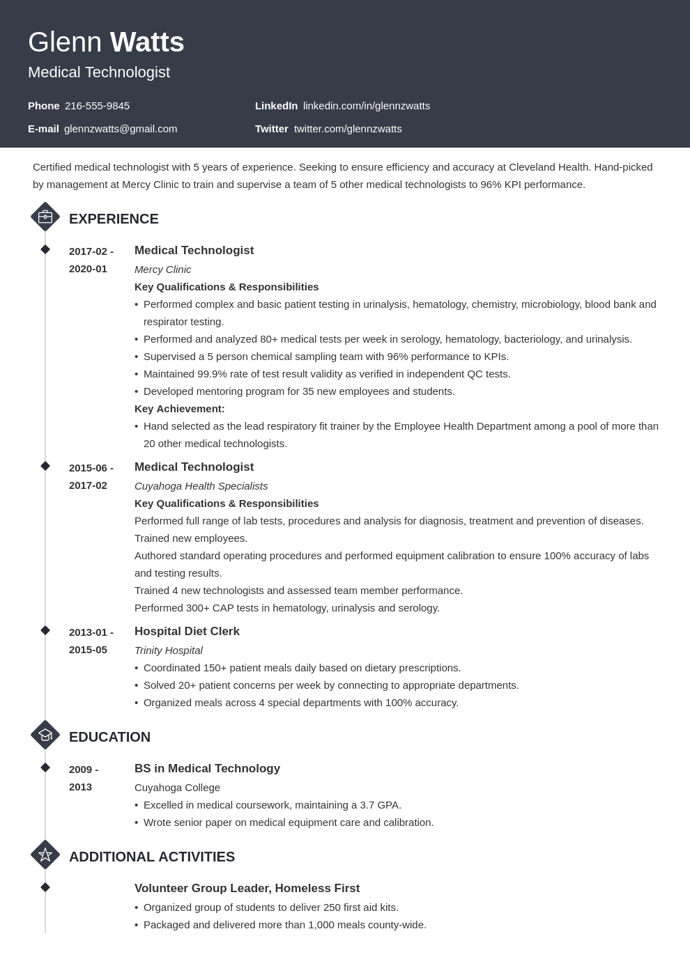 medical technologist resume example template diamond