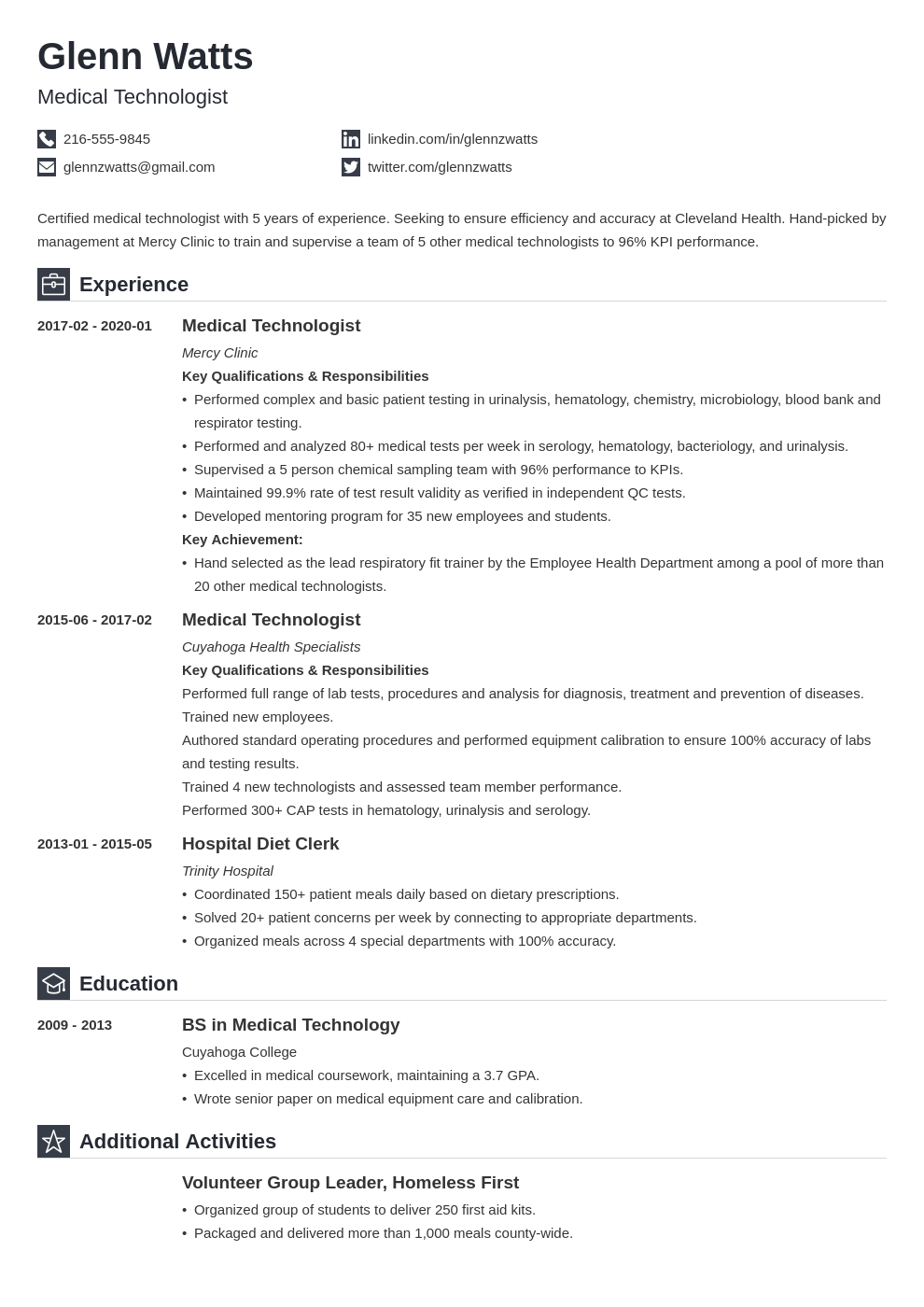 medical technologist resume example template iconic