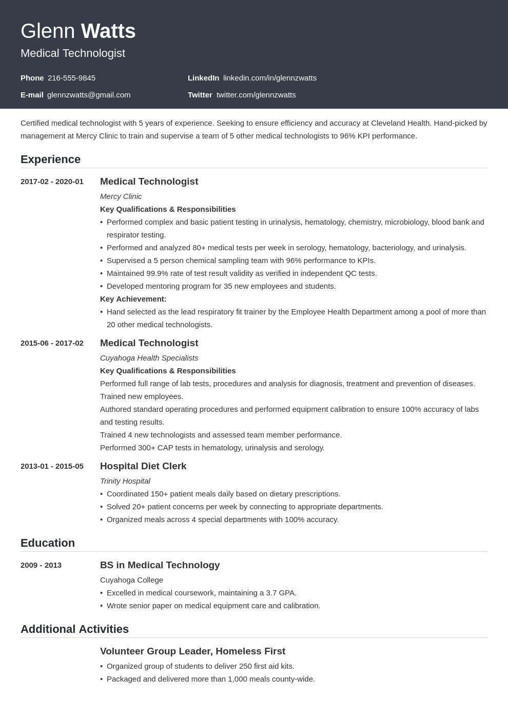 medical technologist resume example template influx