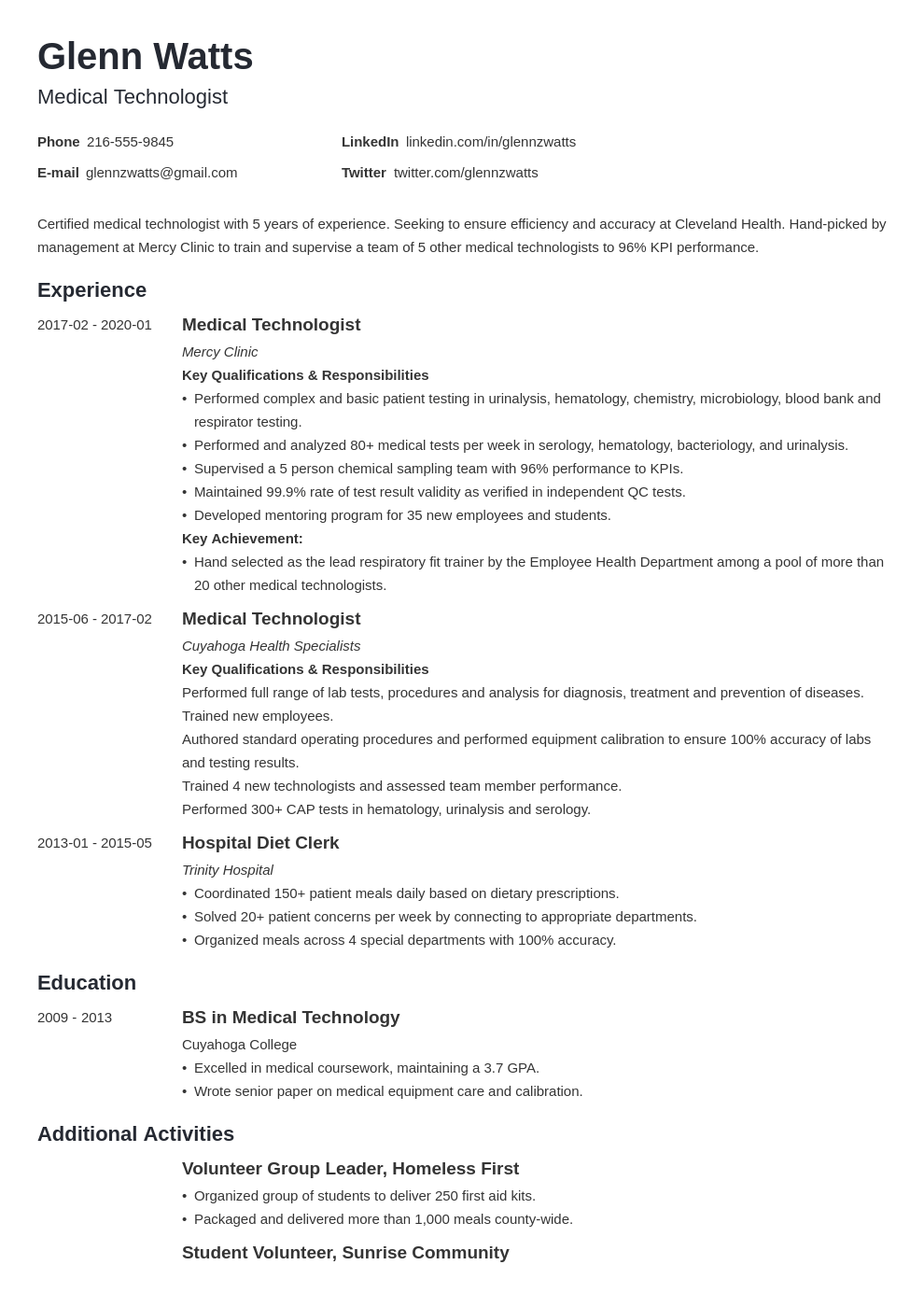 medical technologist resume example template minimo