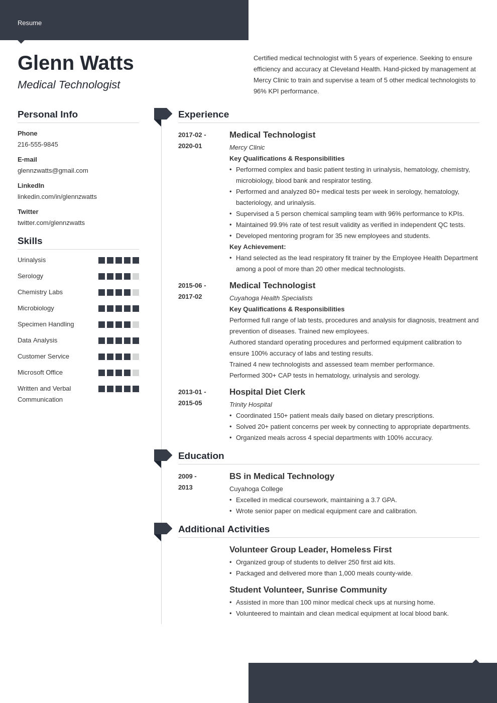 medical technologist resume example template modern