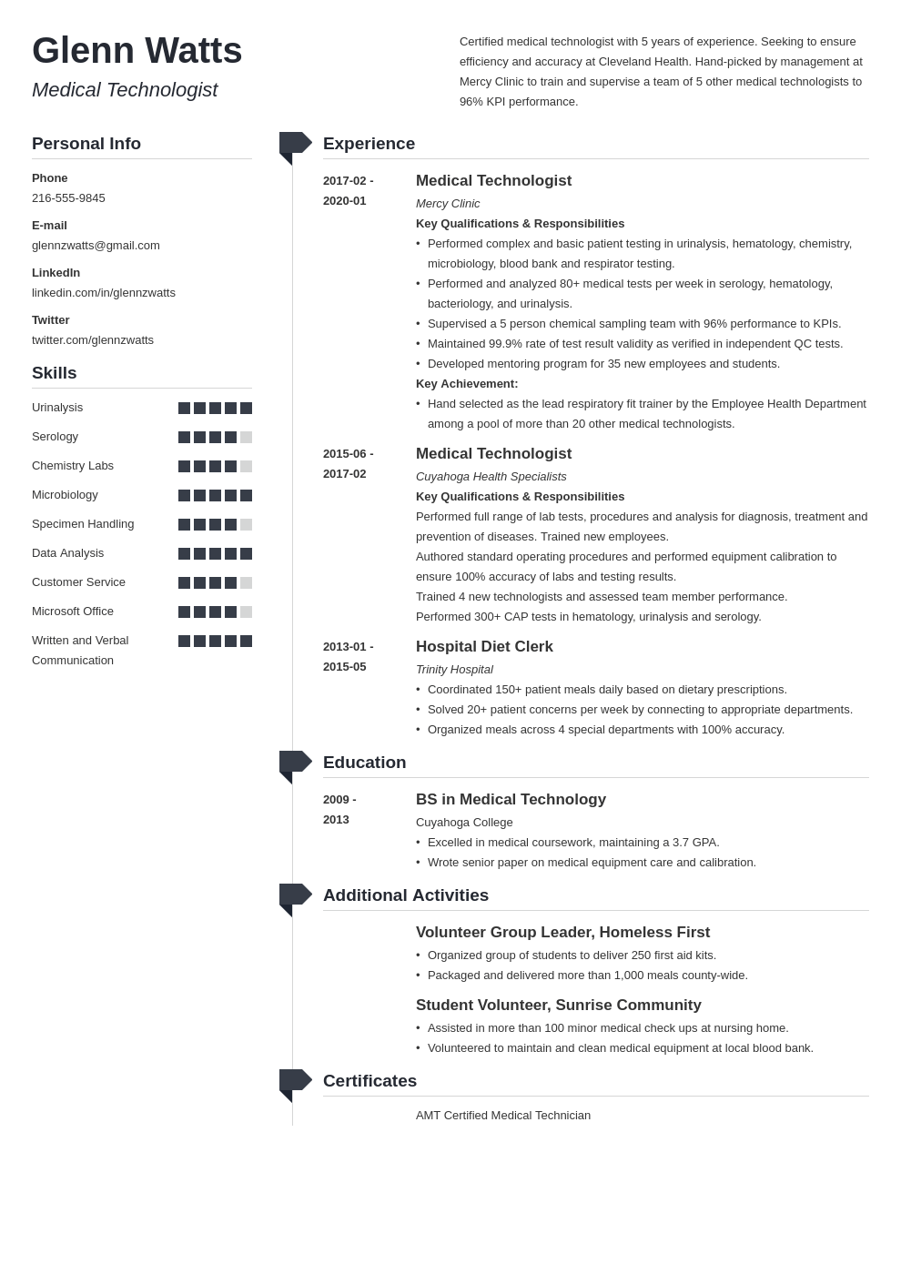 medical technologist resume example template muse