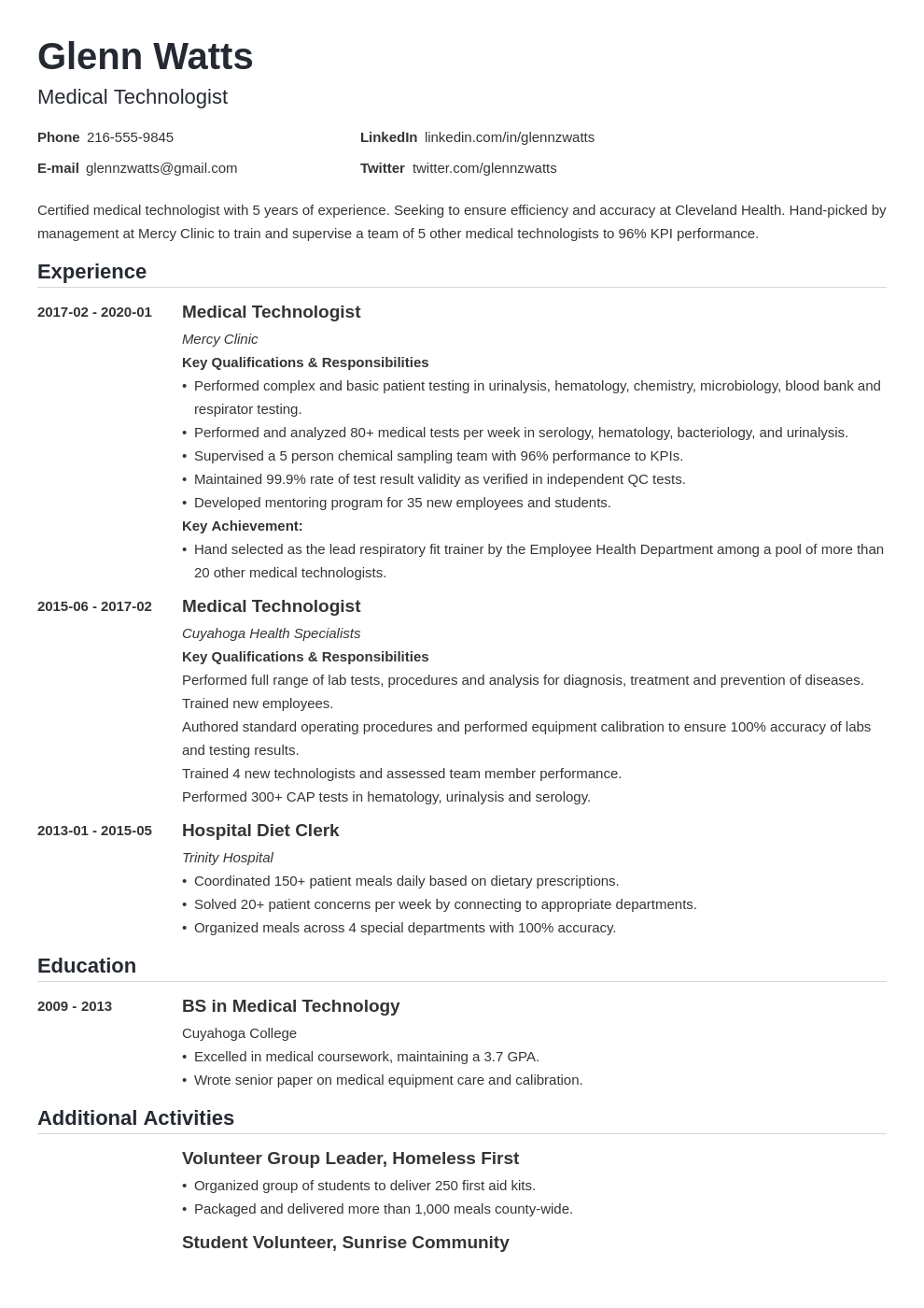 medical technologist resume example template nanica