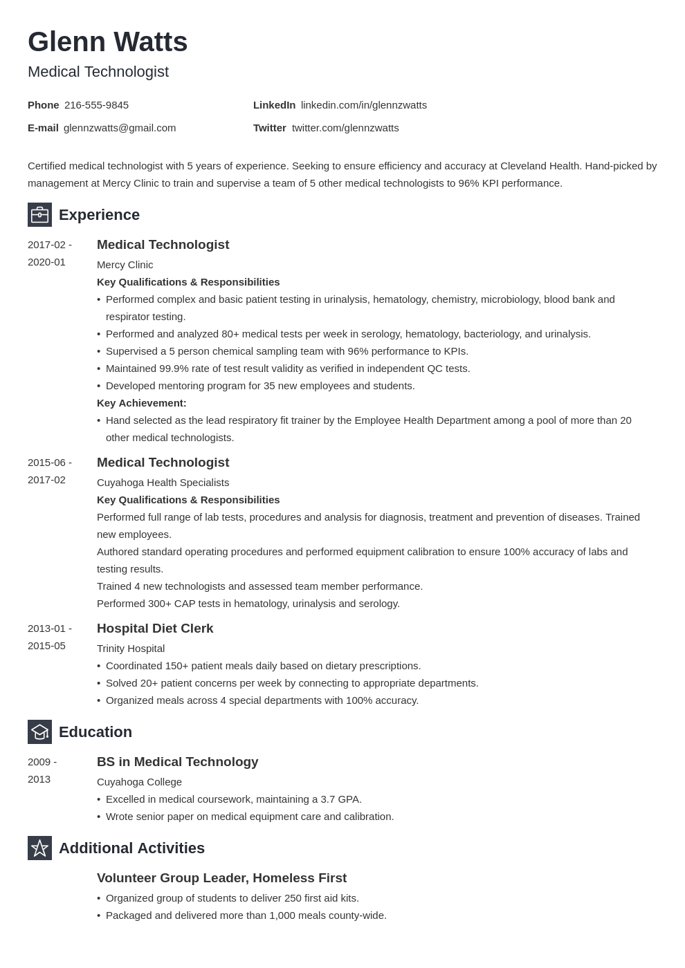 medical technologist resume example template newcast