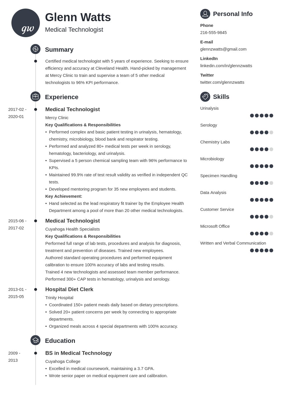 medical technologist resume example template primo