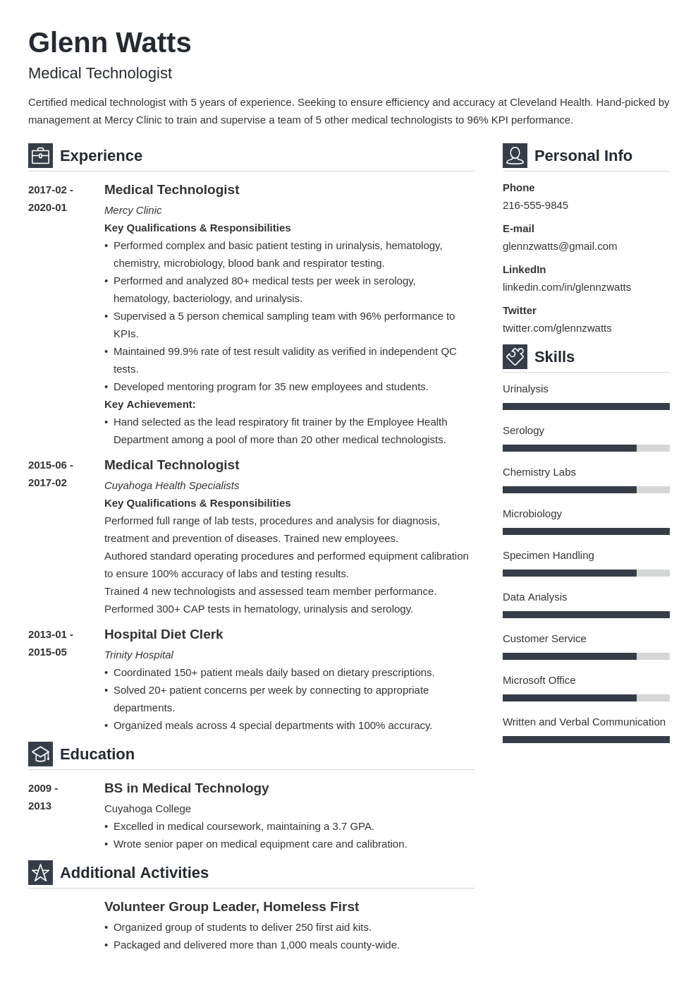 medical technologist resume example template vibes