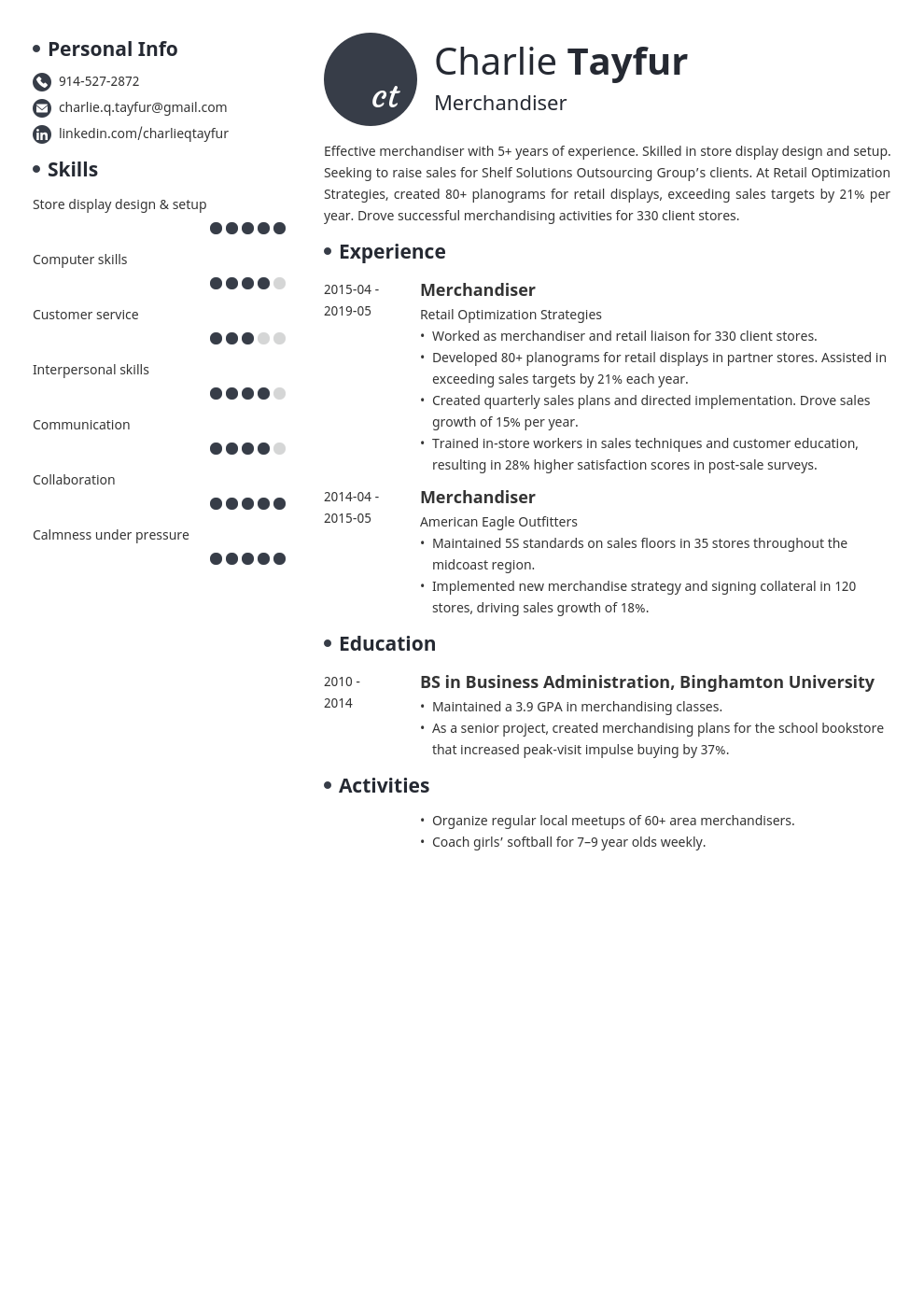 merchandiser resume example template initials