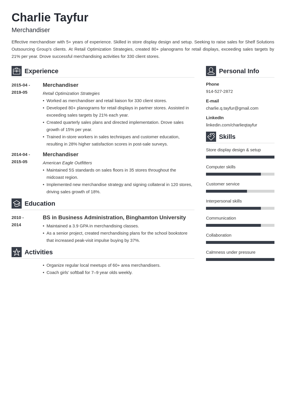merchandiser resume example template vibes