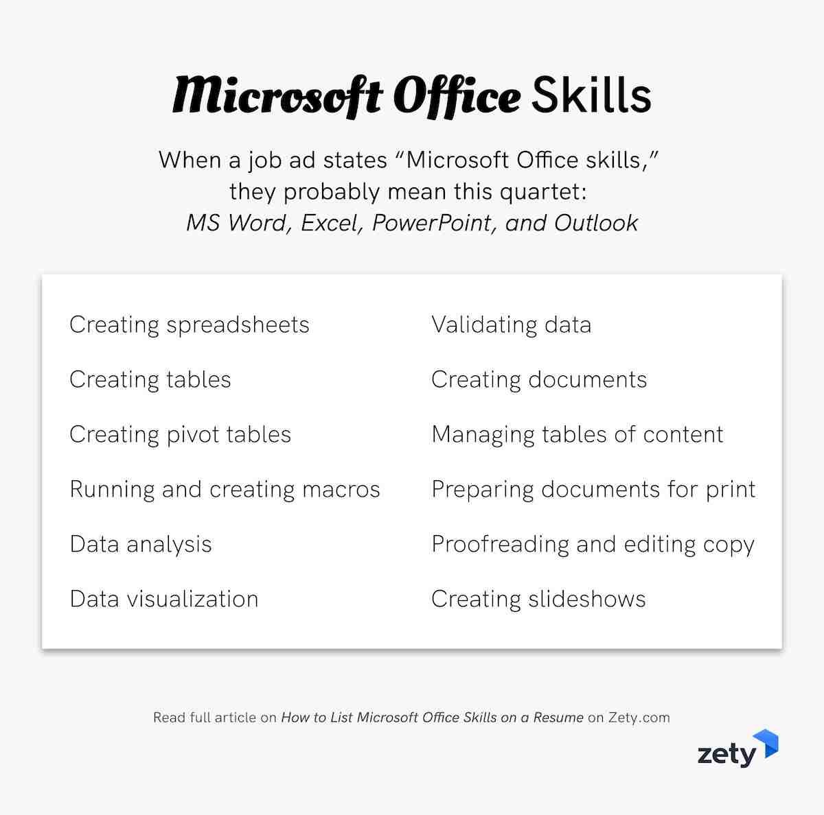 how to list microsoft office skills on a resume in 2020