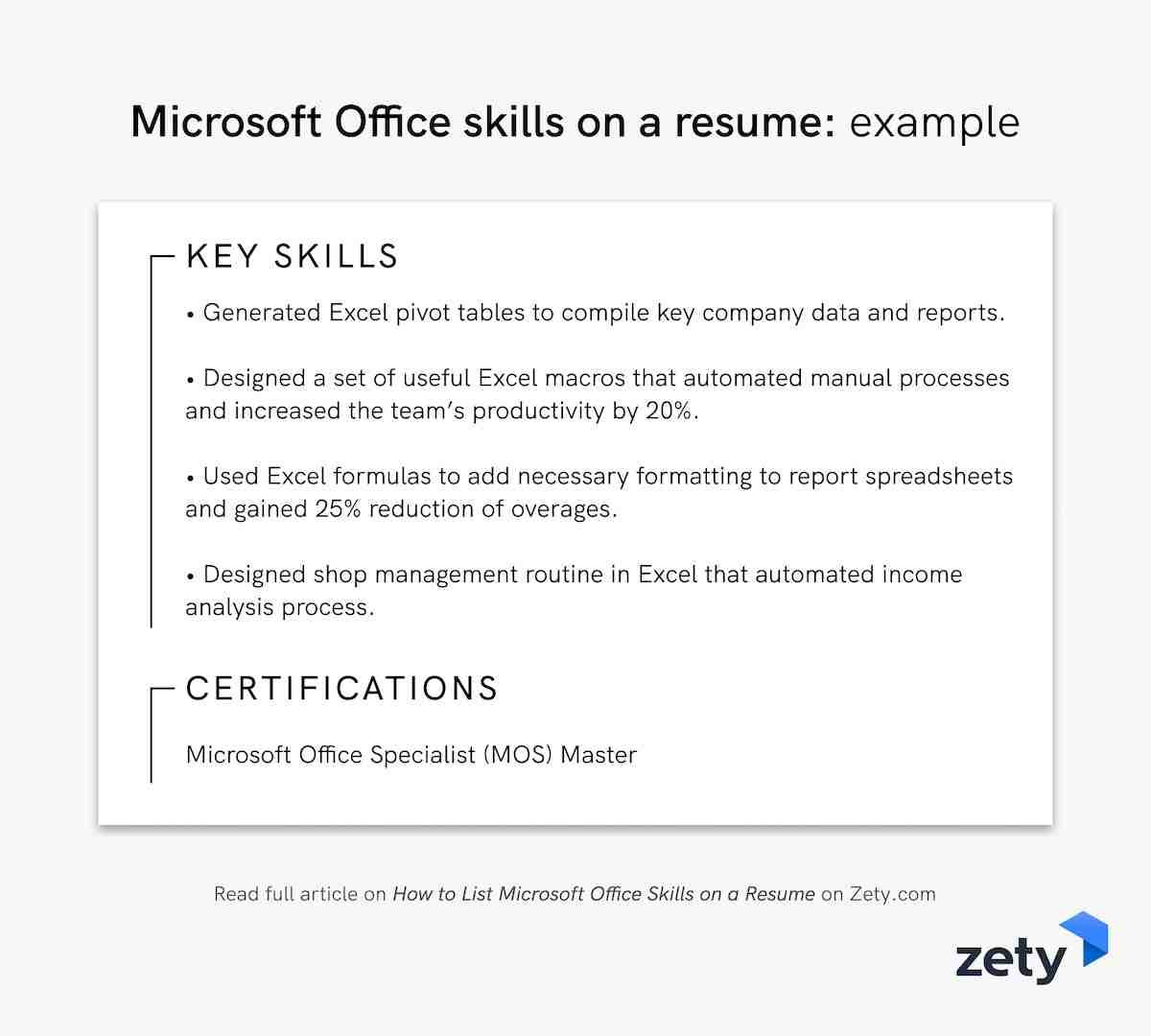 Microsoft Office skills on a resume: example
