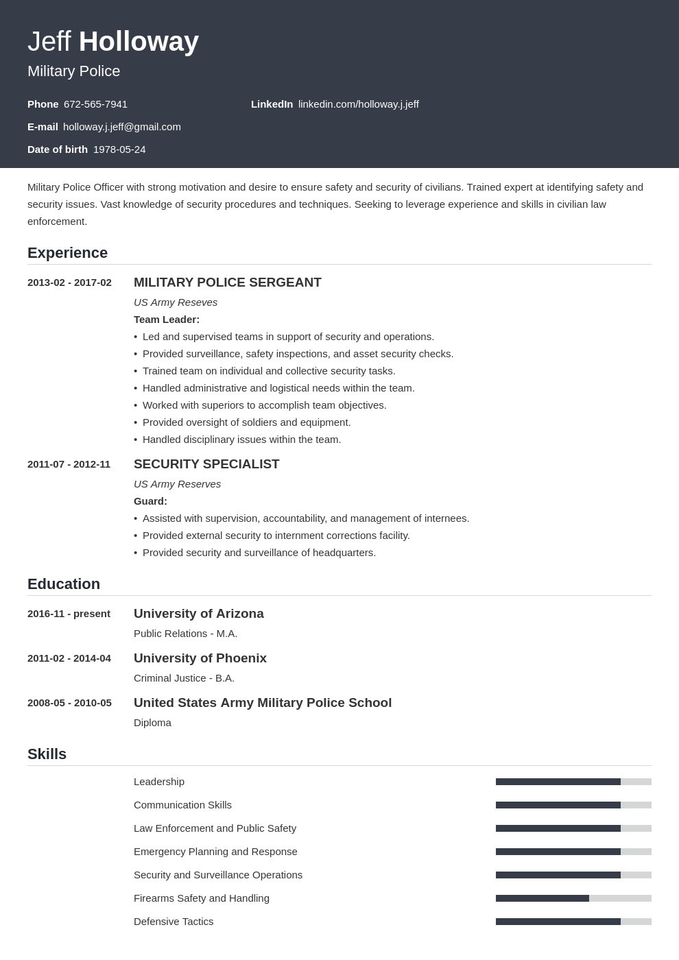 Military To Civilian Resume How Use Your Experience